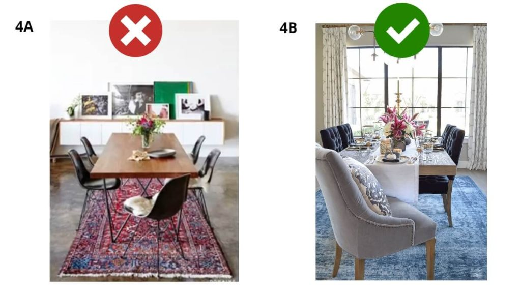choose right rug size for dining