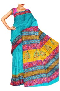 model in silk sari