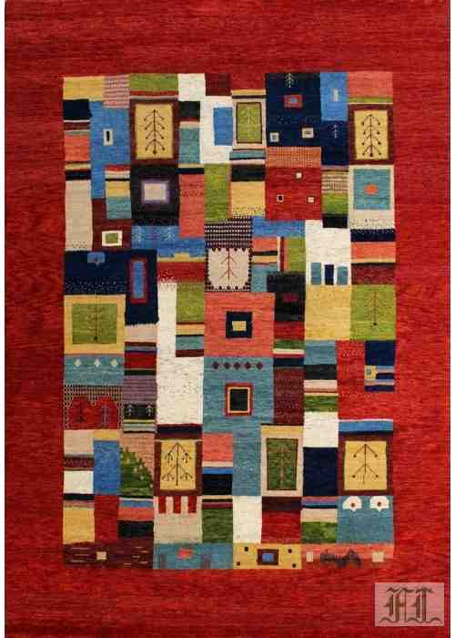 Multi-color Persian Gabbeh Loribaft Rug