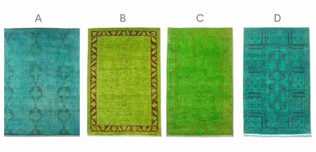 green overdyed rugs