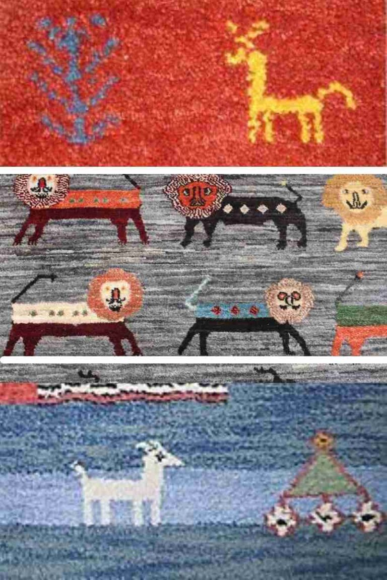 persian gabbeh rugs with animals